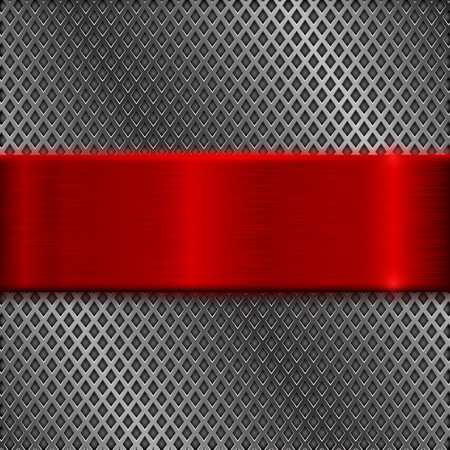 Illustration pour Metal perforated background with red brushed plate - image libre de droit
