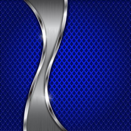 Illustration pour Blue metal perforated background with steel wave element and diamond shape holes. - image libre de droit