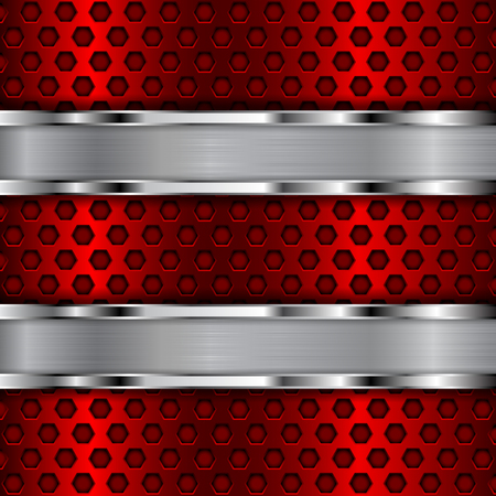 Illustration pour Red perforated background with stainless steel stripes - image libre de droit