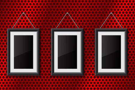 Illustration pour Three black empty pictures on red metal perforated background - image libre de droit