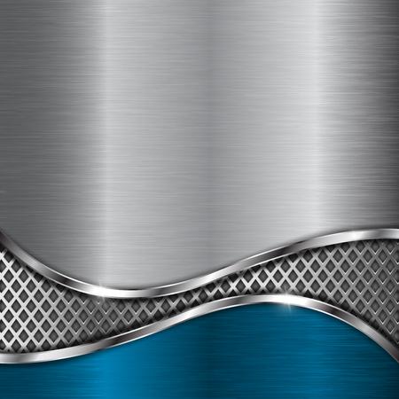 Illustration pour Metal background with perforation and blue element - image libre de droit