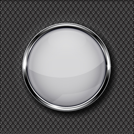 Illustration pour White glass button with chrome frame on metal perforated background. Vector 3d illustration - image libre de droit