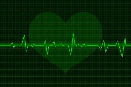 Ilustración de Electrocardiogram. Green waves with heart symbol. Vector 3d illustration - Imagen libre de derechos