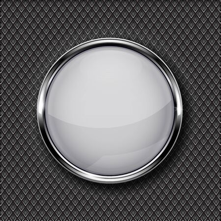 Illustration pour White glass button with chrome frame on metal perforated background - image libre de droit
