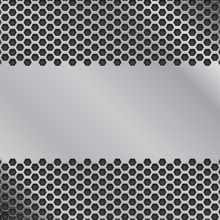 Illustration pour Metal perforated background with blank plate. Vector 3d illustration - image libre de droit