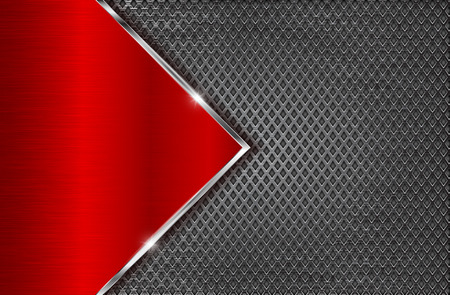 Illustration pour Metal perforated background with red steel plate. Diamond shape holes. Vector 3d illustration - image libre de droit