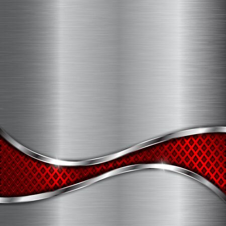 Illustration pour Metal background with red steel perforated wave element - image libre de droit