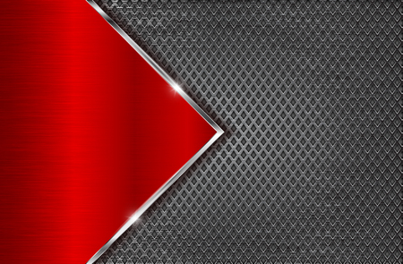 Illustration pour Metal perforated background with red steel plate. Diamond shape holes - image libre de droit