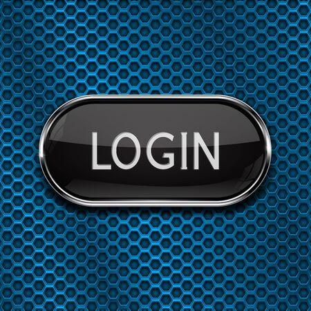 Illustration pour Login black oval button on blue perforated background - image libre de droit