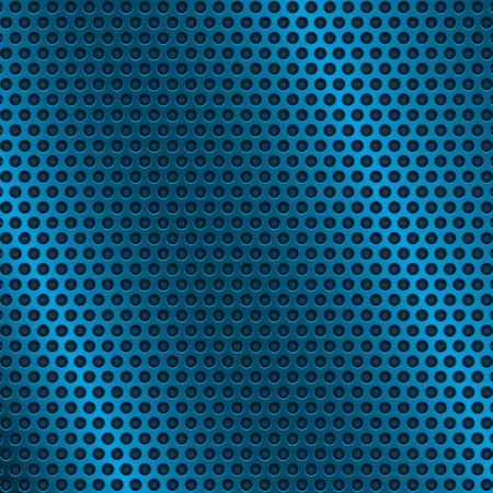 Illustration pour Blue metal perforated background. With round holes. Vector 3d illustration - image libre de droit
