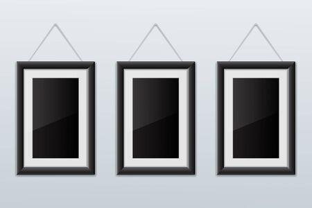 Illustration pour Three black empty picture frames - image libre de droit