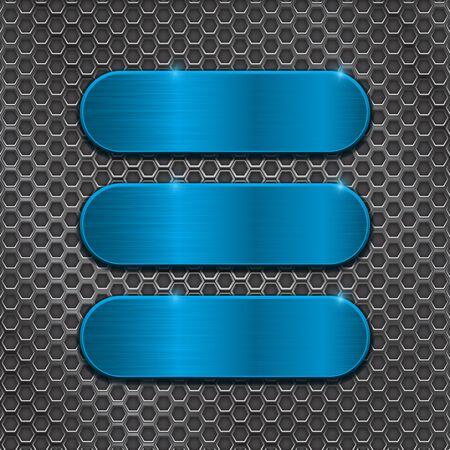 Illustration pour Blue oval plates on metal perforated background - image libre de droit
