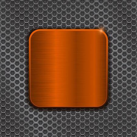 Illustration pour Orange metal square button on iron perforated background. Vector 3d illustration - image libre de droit