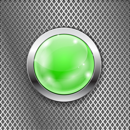 Illustration pour Green round glass button with metal frame on steel perforated background. Diamond shape holes. Vector 3d illustration - image libre de droit