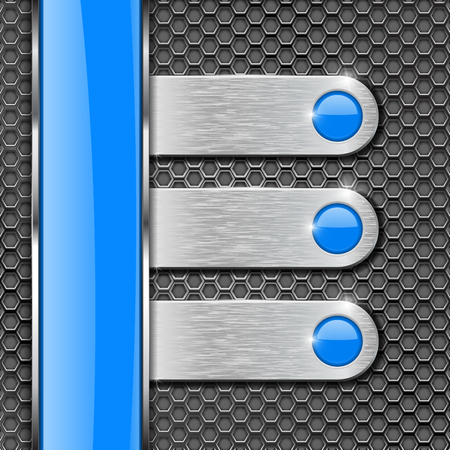 Illustration pour Metal perforated background with steel plates and blue glass stripe. Vector 3d illustration - image libre de droit