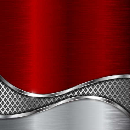 Illustration pour Red metal background with steel perforated wave element - image libre de droit