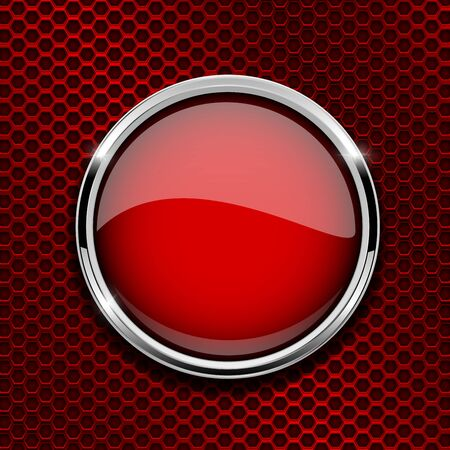 Illustration pour Red round glass icon with metal frame - image libre de droit