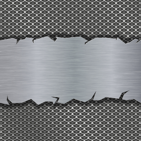 Illustration pour Perforated background with metal brushed plate - image libre de droit