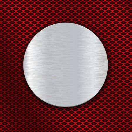 Illustration pour Round metal brushed plate on red perforated background - image libre de droit