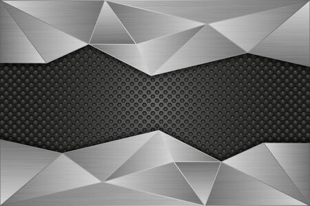 Illustration pour Metal perforated background with brushed metal polygonal elements - image libre de droit