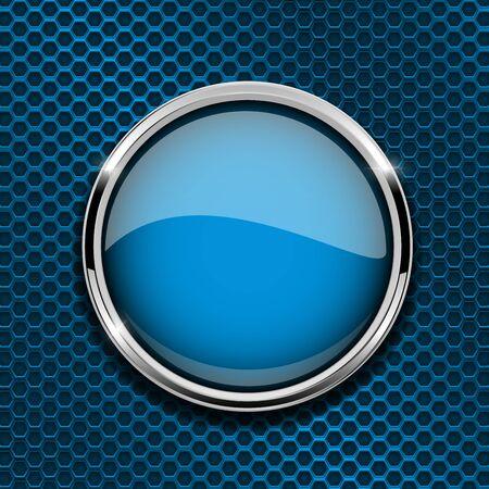 Illustration pour Blue round button with metal frame vector illustration - image libre de droit