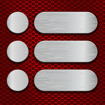 Illustration pour Metal brushed plates on red perforated background - image libre de droit