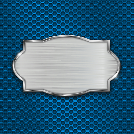 Illustration pour Metal scratched plate on blue perforated background - image libre de droit