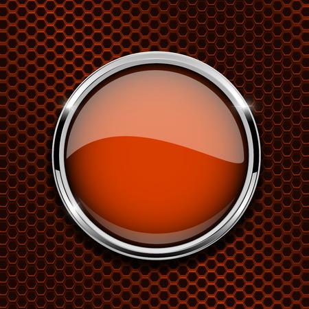 Illustration pour Orange glass round button on metal perforated background - image libre de droit