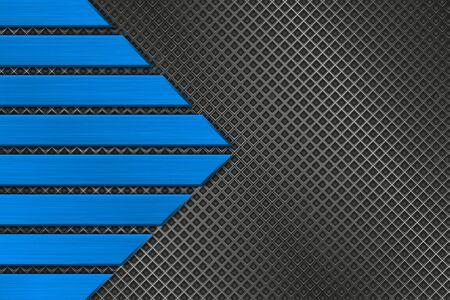 Illustration pour Metal perforated background with blue stripes - image libre de droit