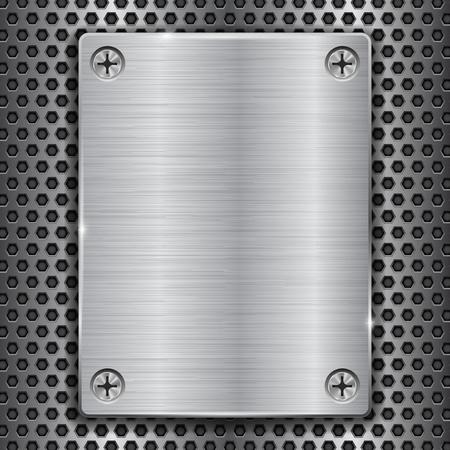 Illustration pour Metal plate with screws on perforated texture - image libre de droit