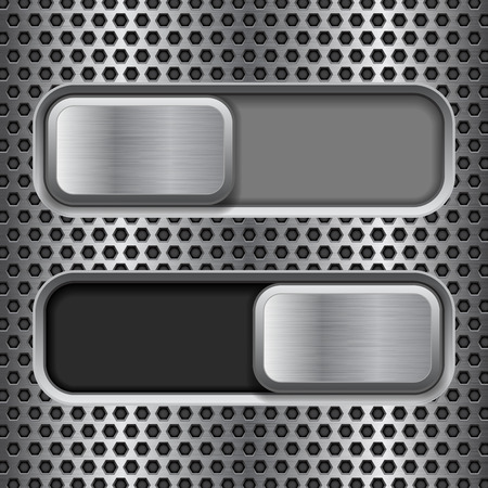 Illustration pour On and Off square slider buttons. Metal switch interface buttons on perforated background Vector illustration. - image libre de droit