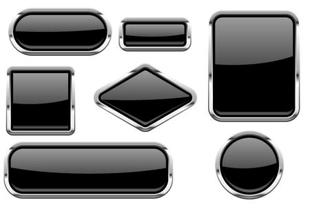 Ilustración de Black glass buttons with chrome frame. Colored set of shiny 3d web icons - Imagen libre de derechos
