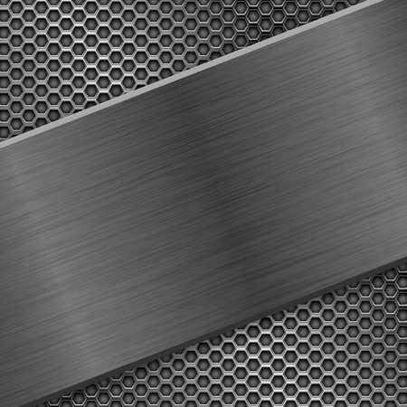 Illustration pour Metal brushed texture with perforated background - image libre de droit