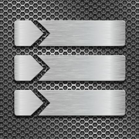 Illustration pour Metal brushed rectangular plates on perforated background - image libre de droit