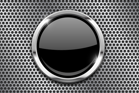 Illustration pour Metal perforated background with black round glass plate - image libre de droit
