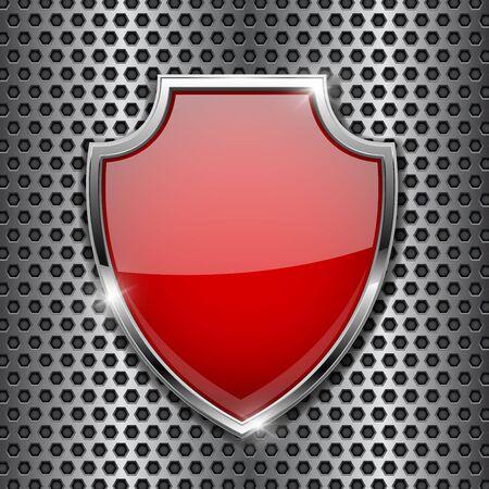 Illustration pour Metal 3d red shield on metal perforated background. Vector illustration - image libre de droit