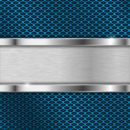 Illustration pour Metal blue perforated backround with iron horizontal plate - image libre de droit