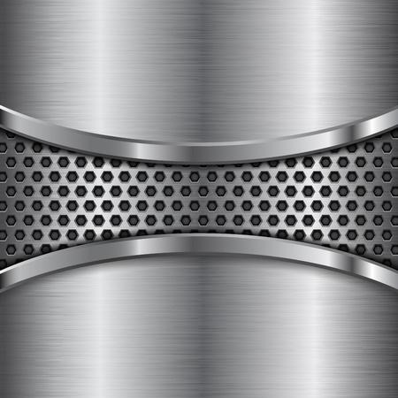 Illustration pour Metal brushed background with perforated center element. Vector 3d illustration - image libre de droit