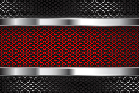 Illustration pour Metal perforated background with red banner Vector illustration. - image libre de droit
