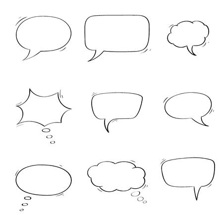 Illustration pour Speech bubbles. Chat symbols. Outline icons. Vector illustration isolated on white background - image libre de droit