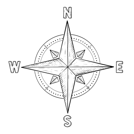 Illustration pour Compass rose with cardinal points hand drawn sketch illustration. - image libre de droit