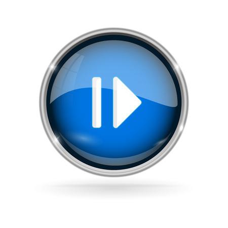 Illustration pour Blue glass button with chrome frame. Play and Pause 3d sign - image libre de droit