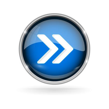 Illustration pour Blue glass button with chrome frame. Fast forward 3d sign - image libre de droit