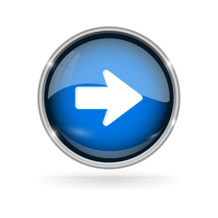 Illustration pour Blue glass button with chrome frame. Next 3d sign - image libre de droit