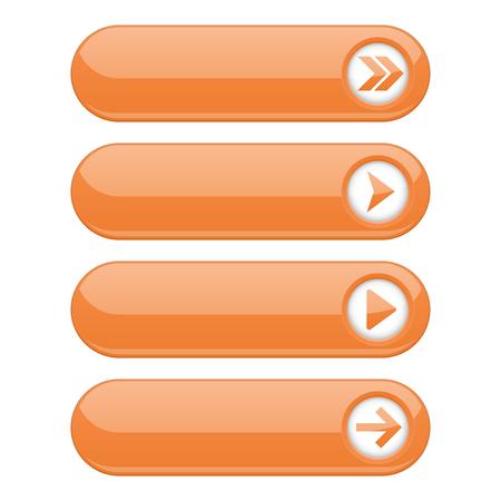 Illustration pour Orange interface buttons with arrows - image libre de droit