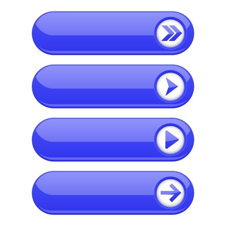 Illustration pour Blue interface buttons with arrows - image libre de droit
