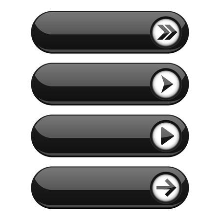 Illustration pour Black interface buttons with arrows - image libre de droit