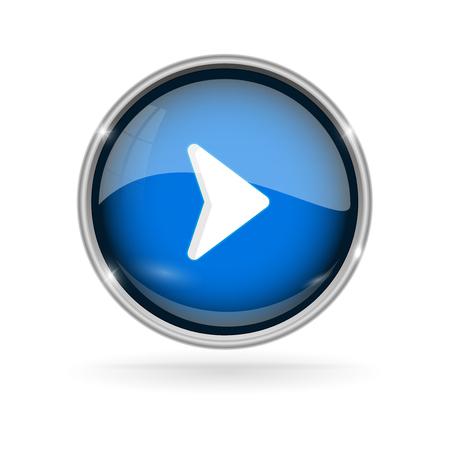 Illustration pour Blue glass button with chrome frame. Play 3d sign - image libre de droit