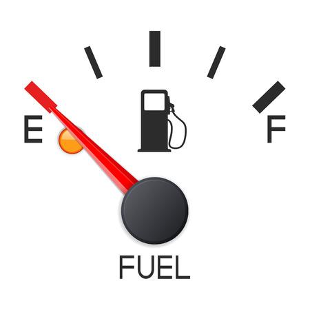 Illustrazione per Fuel gauge. Empty tank. Car dashboard scale. Vector 3d illustration - Immagini Royalty Free