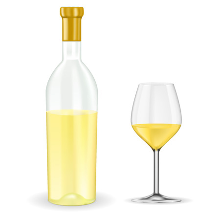 Ilustración de Open bottle of white wine with glass. Vector 3d illustration isolated on white background - Imagen libre de derechos